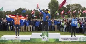 Sheikh Hamdan Al Maktoum and Yamamah claimed individual Endurance gold in Sartilly, with the Netherlands' Marijke Visser (Laiza de Jalima) taking silver ahead of Qatar's Abdulrahman Saad AS Al Sulaiteen and Koheilan Kincso. (Dirk Caremans/FEI)