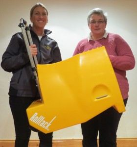 Diane Jones (SMWRC) and Clare Medland (Rolltack) with the yellow Rolltack prize for this year's dressage league. (Photo courtesy of Scott McLean)