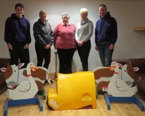 James Millar (Millies Jumps), Diane Jones (SMWRC), Clare Medland (Rolltack), Miriam Wright (SMWRC), Ivan Millar (Millies Jumps) – some of the sponsors of SMWRC Dressage League- 2015. (Photo courtesy of Scott McLean).