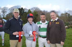 Lee Johnston & Alex Greer  75 cm pairs  winners receiving prize money and rosettes from Martin Mellet and Gerard McCloskey class sponsors