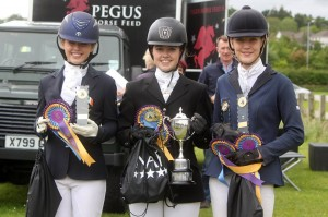 Open Dressage Team of Roisin & Ciara Muirhead & Laura King who also lifted the individual cup