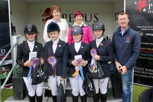 Intermediate Dressage Team with Area 17 Rep Liz Lowry, Iveaghs Rose DeCourcey Wheeler & Declan Cullen of Pegus Horse Feeds