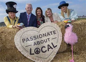 Rhonda Geary, RUAS Operations Director and Patrick Doody, Sales and Marketing Director, Henderson Group, owners of the SPAR franchise in Northern Ireland are pictured alongside Becky Laidlaw and Natalie Thompson from Stripey Socks Productions who are performing in the SPAR Arena.  The dedicated family fun area with run over the three days of the Balmoral Show from 11th-13th May.